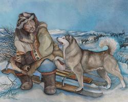 Чукча на санях и упряжная собака