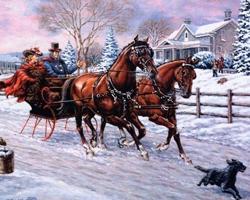 Пара едет в санях с двумя лошадьми