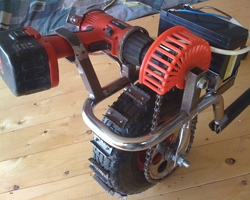 Колесо с мотором для самодельного мотоснегоката