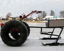 Снегоход из мотоблока на пневмоколесах