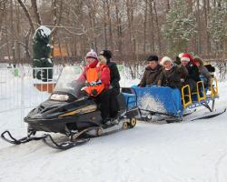 Снегоход, сани, пассажиры