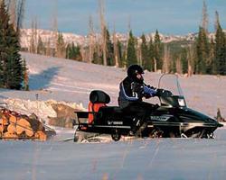 Человек едет на снегоходе с груженым прицепом