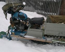 Снегоход из мотоцикла с кузовом-ящиком