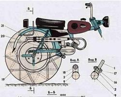 Схема привода на заднее колеса снегохода-пневматика из мотоцикла